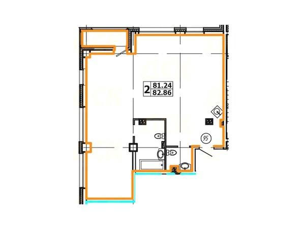 Планировка 2-комнатной квартиры 82,86 кв. м