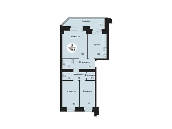 Планировки Жилой комплекс СЭЛФОРТ, 2 оч - Планировка трехкомнатной квартиры 79,1 кв.м