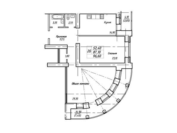 Планировки Жилой комплекс Королева, дом 3, корпус 1 - Планировка двухкомнатной квартиры 96,6 кв.м