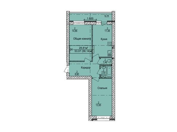 Планировка 2-комн 56,14 м²