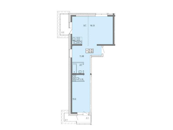 2-комнатная 62,86 кв.м