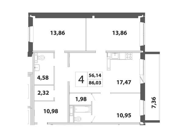 4-комнатная 86.03 кв.м
