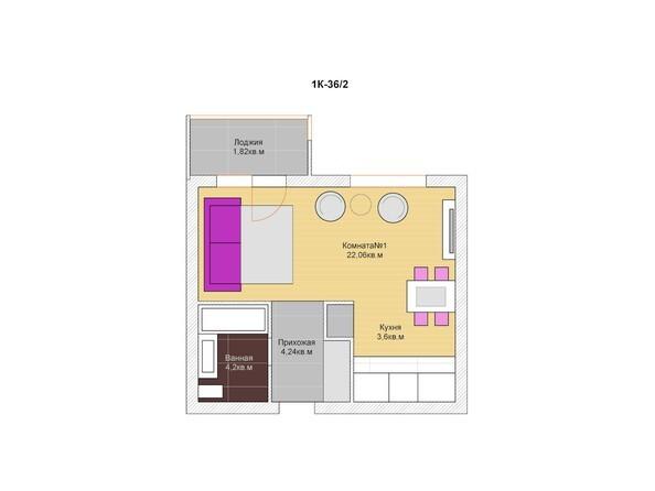 1-комнатная 35 - 36 кв.м
