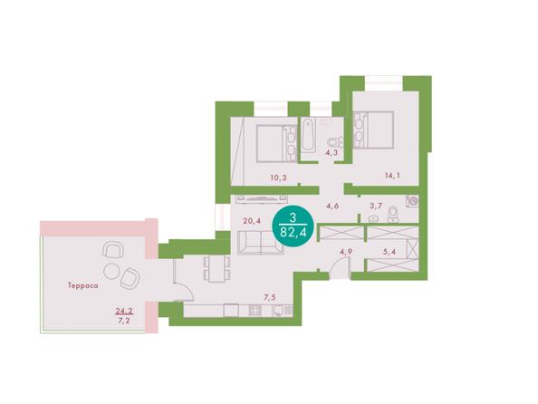 3-комнатная 82,4 кв.м