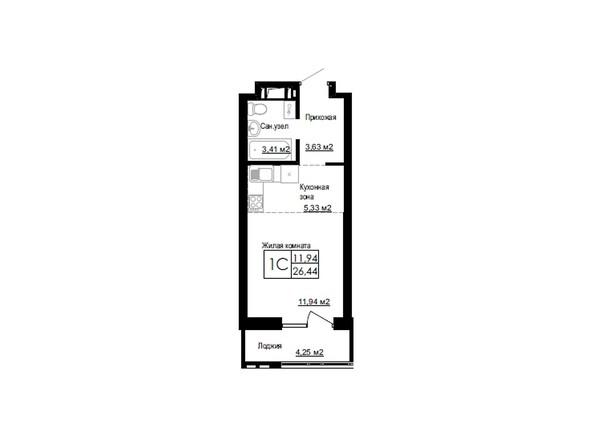 Планировки Жилой комплекс ДОМ НА БЕРЕЗОВОЙ РОЩЕ - Планировка однокомнатной квартиры 26,44 кв.м