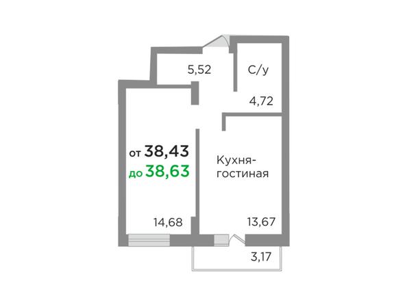 Планировки Жилой комплекс ЯСНЫЙ БЕРЕГ, дом 10, б/с 1-3  - Планировка однокомнатной квартиры 38,43 кв.м