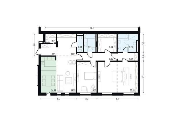 Планировки Жилой комплекс ЖУКОВКА, б/с 7,8 - Планировка трехкомнатной квартиры 142,9 кв.м