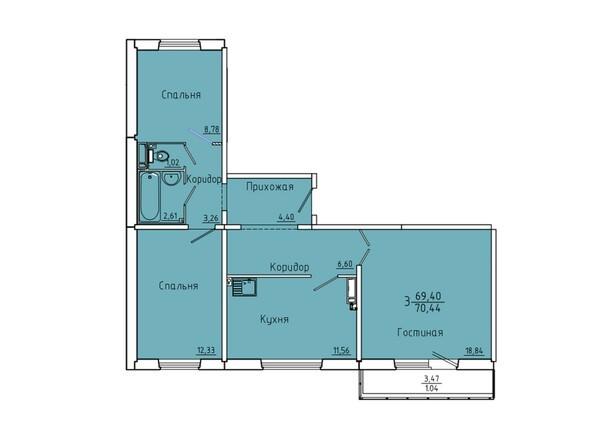 Планировки Иннокентьевский, 3 мкр, дом 6 - Планировка трехкомнатной квартиры 70,44 кв.м