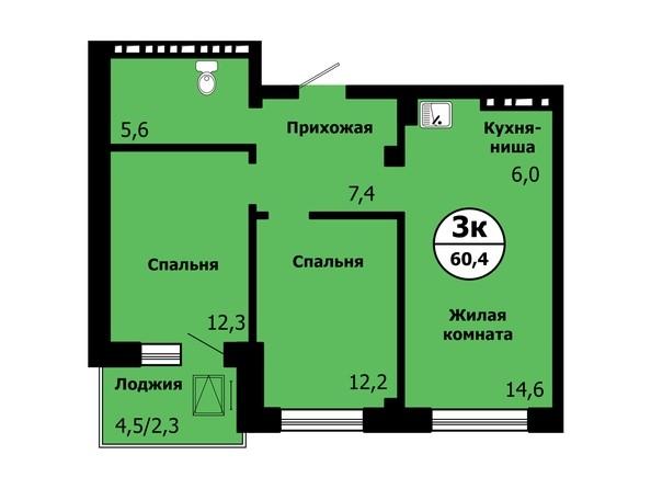 Планировка 3-комн 60,2 - 60,5 м²