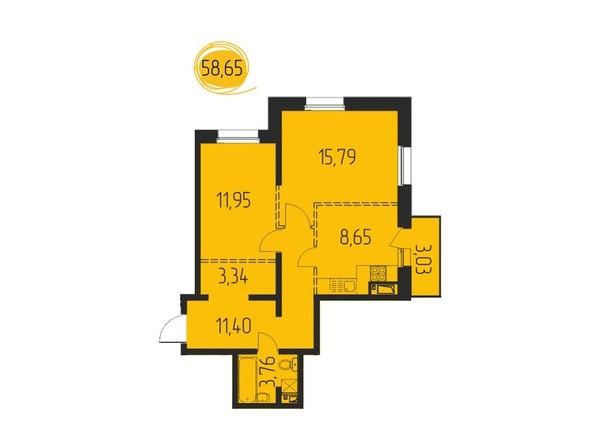 2-комнатная 58,65 кв.м