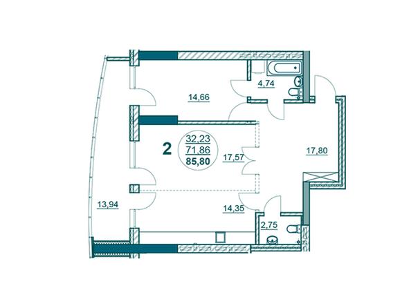 Планировки Жилой комплекс ФЛОТИЛИЯ - 2-комнатная 85,80 кв.м блок Б
