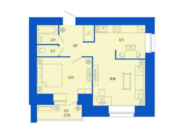 2-комнатная 52.73 кв.м