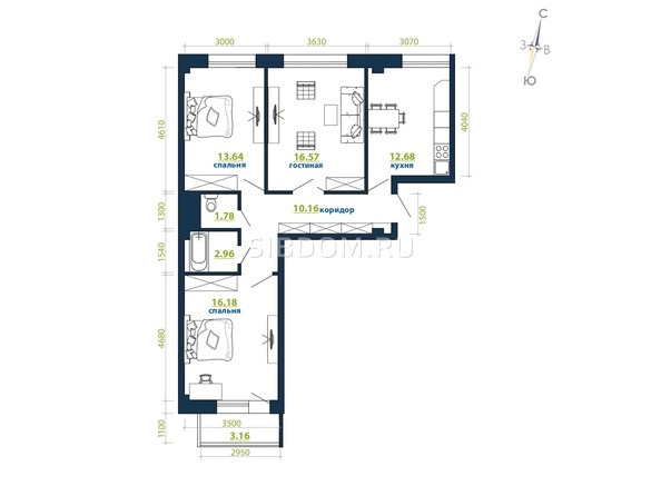 Планировка 3-комн 77,13, 77,58 м²