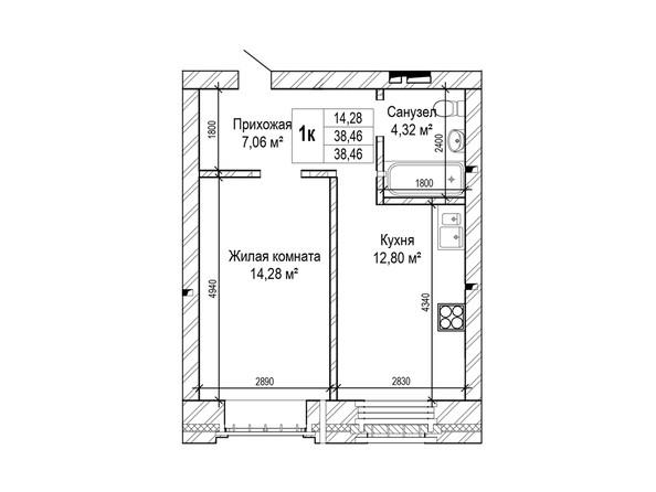 Планировки Жилой комплекс ГРИНАРТ, дом 5 - Планировка однокомнатной квартиры 38,46 кв.м.