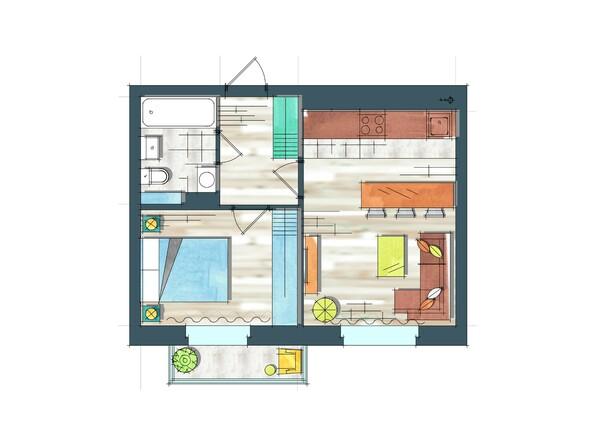 Планировки Жилой комплекс ПРЕОБРАЖЕНСКИЙ, дом 22, этап 2 - Планировка однокомнатной квартиры 39,3 кв.м