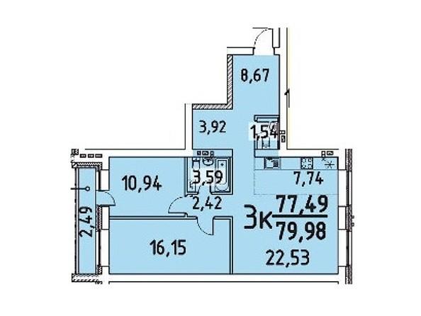 3-комнатная 77.49; 79.98 кв.м