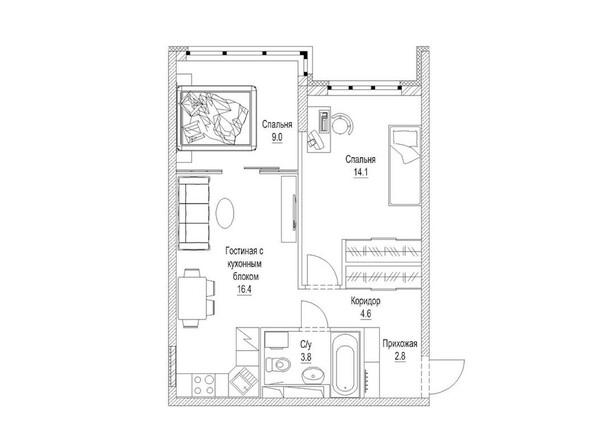 2-комнатная 52.7 кв.м