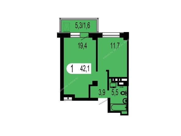 Планировки Жилой комплекс ТИХИЕ ЗОРИ, дом 1 (Красстрой) - Планировка однокомнатной квартиры 42,1 кв.м