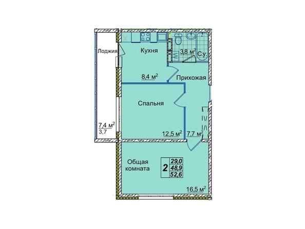 Планировки Жилой комплекс ЮНОСТЬ, дом 1/1 - 2-комнатная 52,6 кв.м