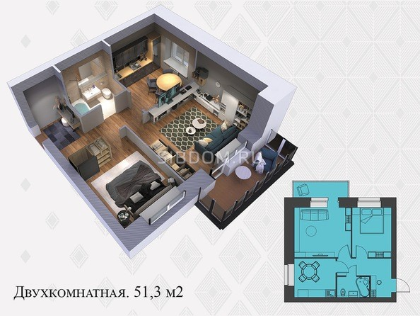 Планировки Жилой комплекс Львовская, 33а - 2-комнатная 51,3 кв.м