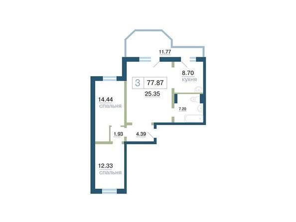 Планировка 3-комн 77,87, 78,08 м²