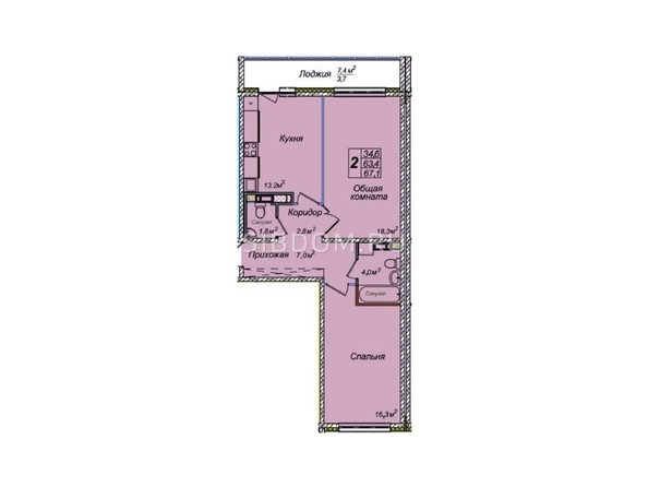 Планировки Жилой комплекс ВЕНЕЦИЯ-2, дом 8 - 2-комнатная 67,1 кв.м
