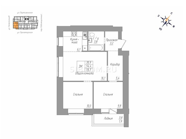 3-комнатная 54.4; 56.3 кв.м