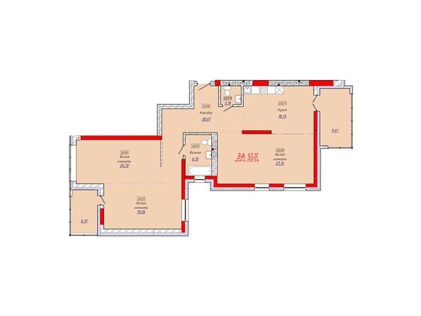 Планировки Жилой комплекс КЛАРУС-ПАРК - Планировка трехкомнатной квартиры 113,54 кв.м.