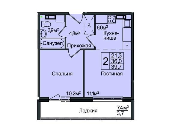 Планировка 2-комнатной квартиры 39,70