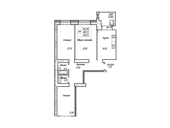 Планировки Жилой комплекс Королева, дом 3, корпус 1 - Планировка трехкомнатной квартиры 93,75 кв.м