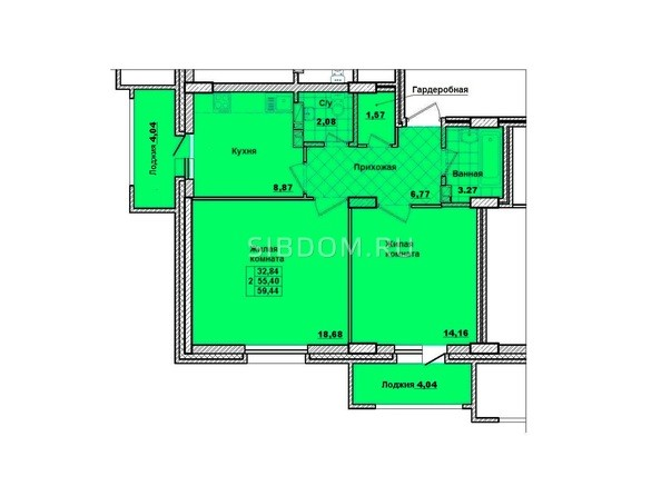 Планировки Жилой комплекс НА КОРОЛЁВА, 2 оч, дом 1 - Планировка двухкомнатной квартиры 59,44 кв.м.