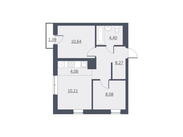 Планировки Жилой комплекс ДУНАЕВСКИЙ, дом 3 - Планировка двухкомнатной квартиры 46 кв.м