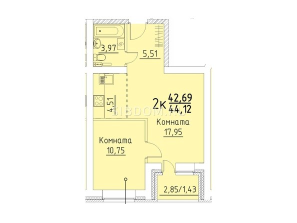 Планировка 2-комн 44,12 м²
