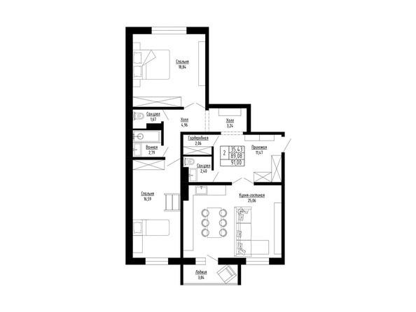 3-комнатная 91 кв.м