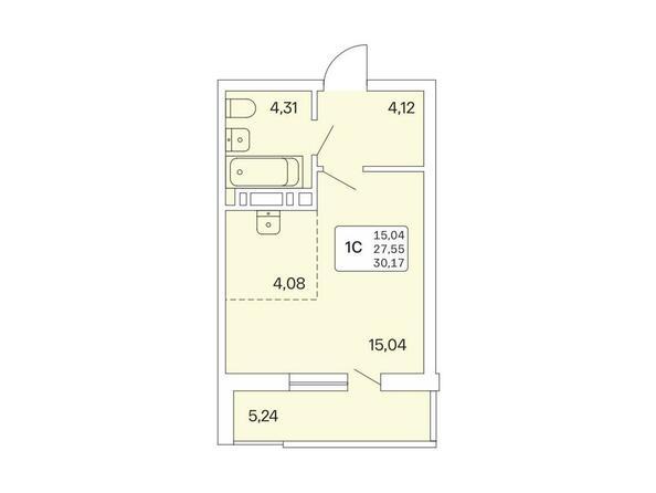 1-комнатная 30,17 кв.м
