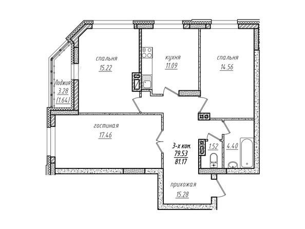 3-комнатная 81.17 кв.м