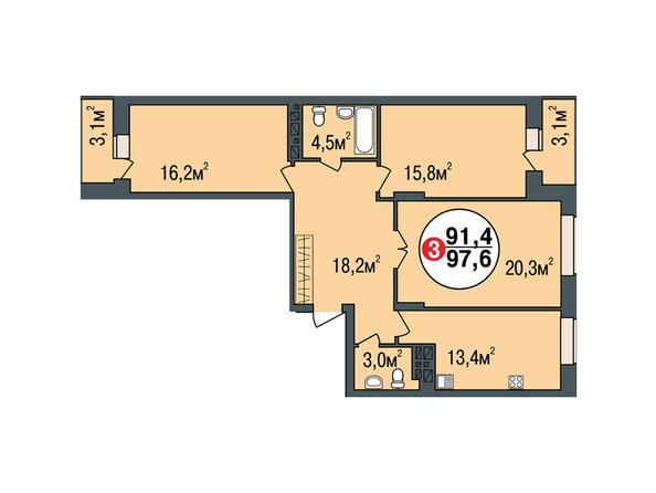Планировки Жилой комплекс ПОКРОВСКИЙ, б/с 1, 2 - Планировка трехкомнатной квартиры 97,6 кв.м