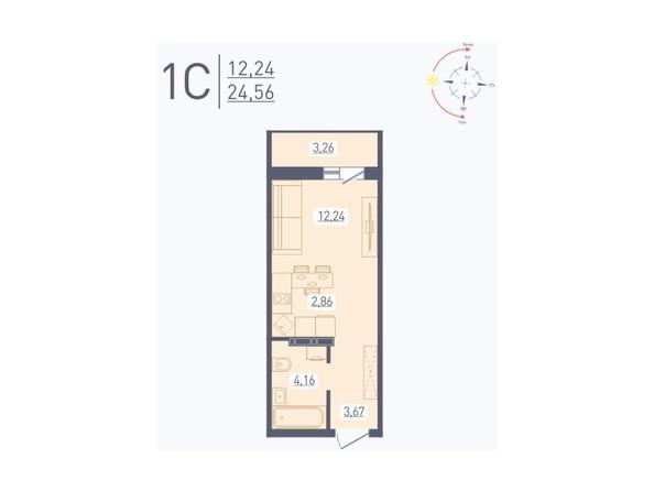 Планировка Студия 24,56, 24,62 м²