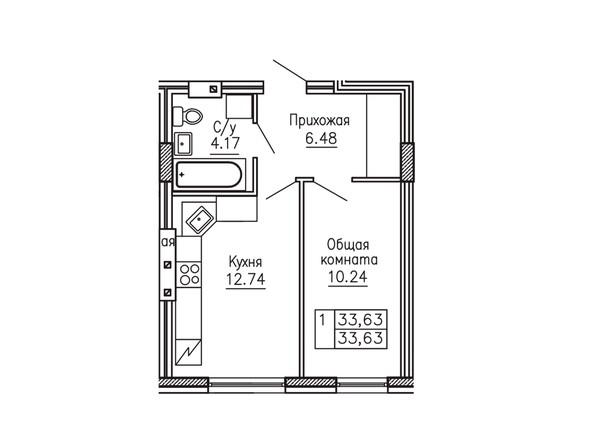 1-комнатная 33.63 кв.м