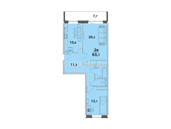2-комнатная 63.1 кв.м