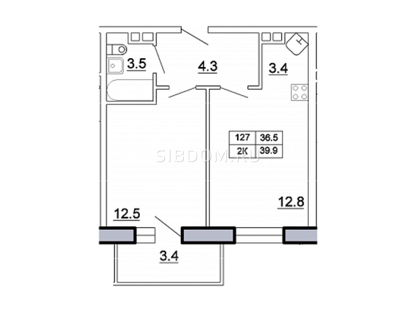 Планировка 2-комн 40,4 м²
