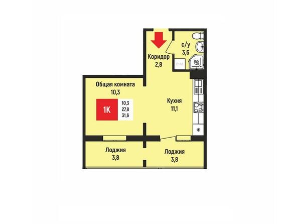 Планировки Жилой комплекс НА ГЕРЦЕНА, дом 2 - Планировка однокомнатной квартиры 31,6 кв.м
