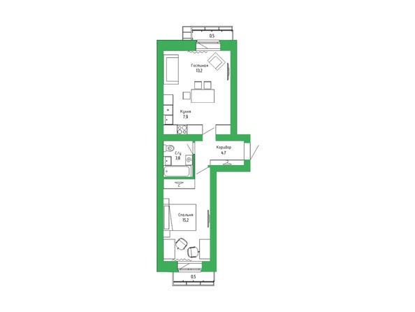 Планировка 2-комн 45,52 м²