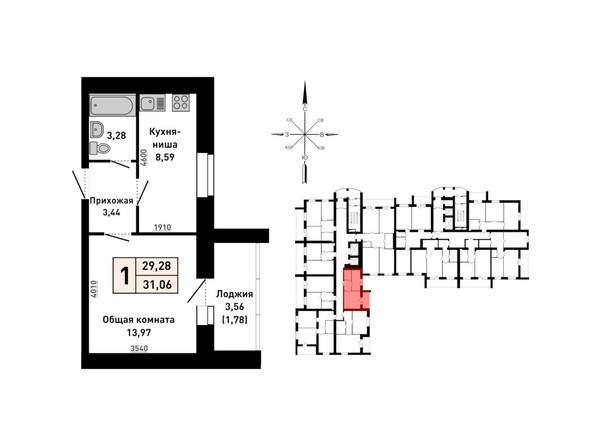 Планировка 1-комн 31,6 м²