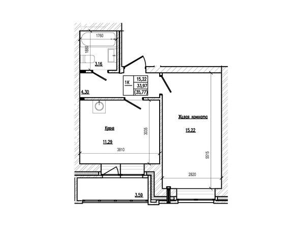Планировка 1-комн 37,24, 37,55 м²
