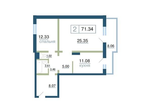 Планировка 2-комн 71,34, 71,36 м²