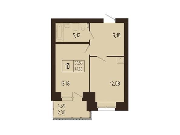 Планировки Жилой комплекс СВОИ ЛЮДИ  - Планировка однокомнатной квартиры 41,86 кв.м
