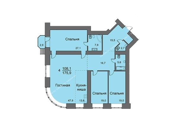 Планировки Жилой комплекс LINER Лайнер - Планировка четырехкомнатной квартиры 175,9 кв.м
