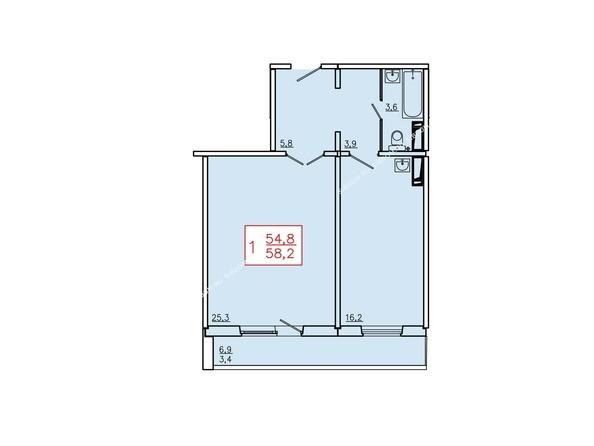 Планировки Жилой комплекс ТИХИЕ ЗОРИ, дом 6 - Планировка однокомнатной квартиры 58,2 кв.м