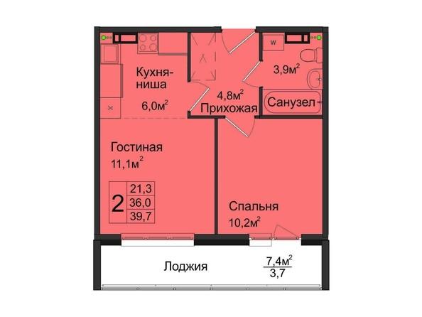 1-комнатная 39,7 кв.м